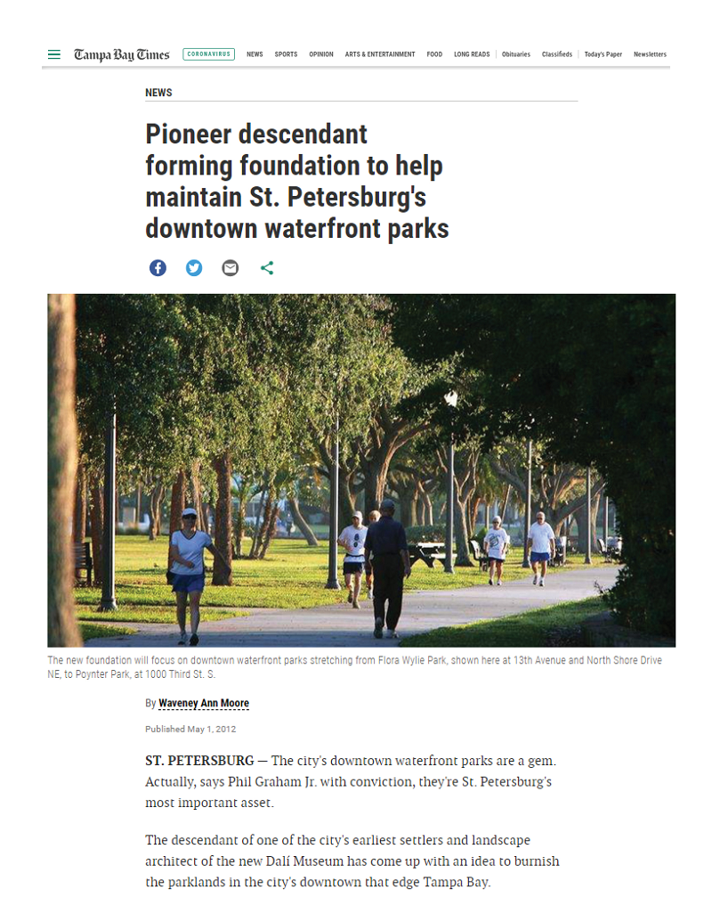 Tampa Bay Times Article: Pioneer descendant forming foundation to help maintain St. Petersburg's downtown waterfront parks