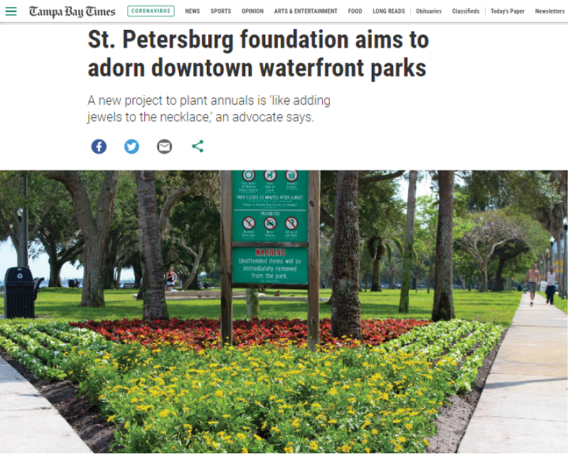 Tampa Bay Times Article About Waterfront Parks Foundation