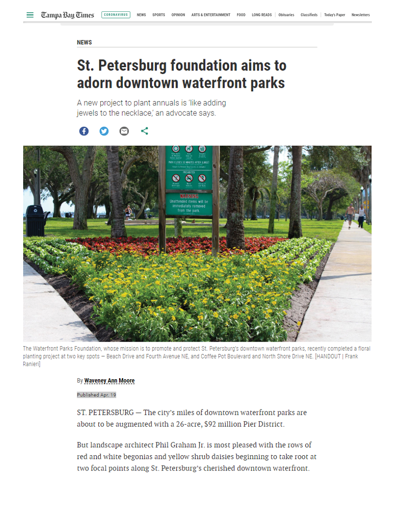 Tampa Bay Times Article: St. Petersburg foundation aims to adorn downtown waterfront parks